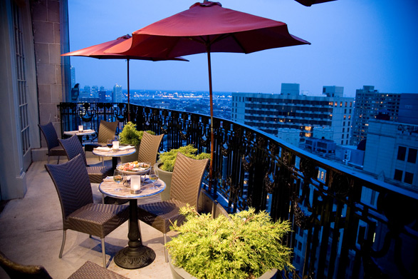 The rooftop balconies at Nineteen at the Hyatt